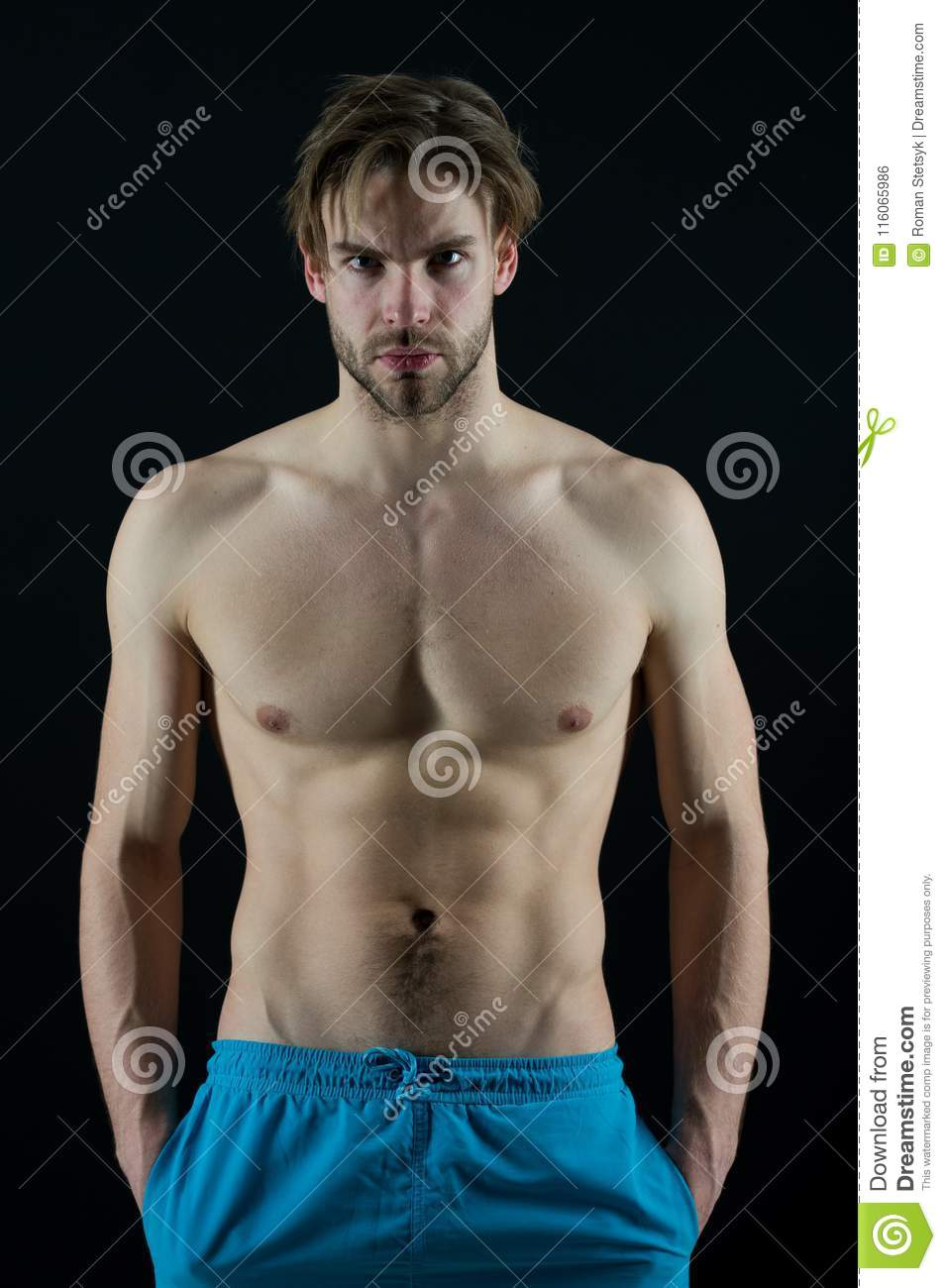 Sportsman With Six Pack And Ab Muscles Macho With Torso And Chest
