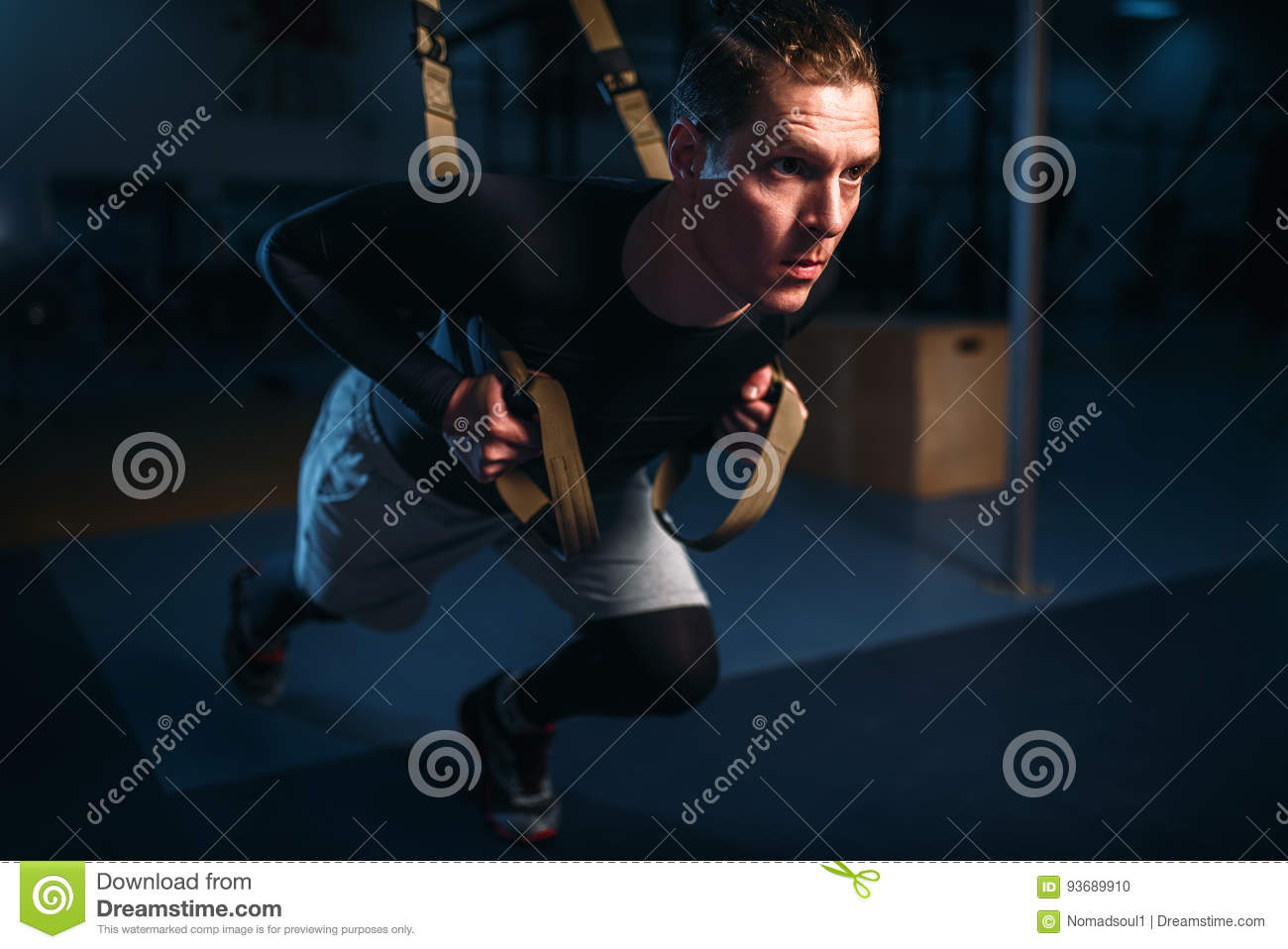 Sportsman On Training,endurance Workout With Ropes Stock
