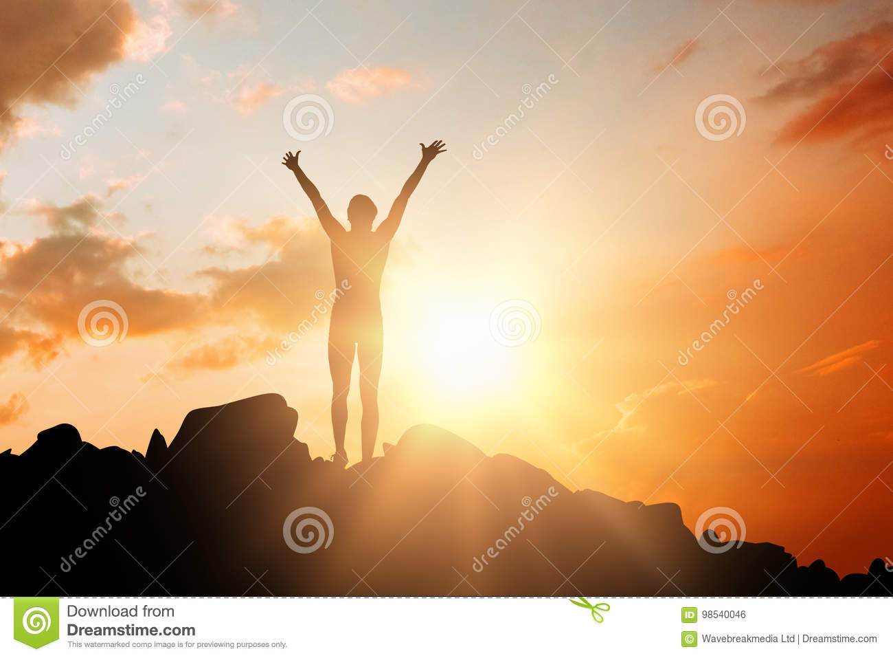 Composite image of sportswoman celebrating her victory