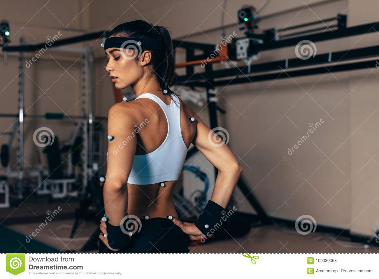 Sportswoman With Motion Capture Sensors Stock Photo - Image of