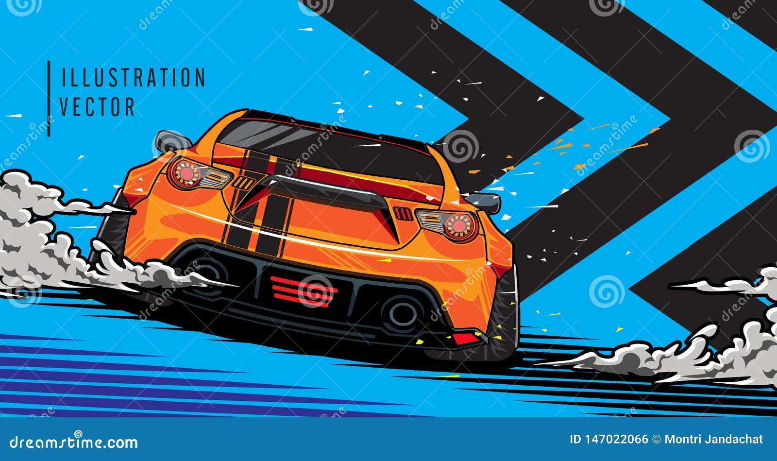 Sportwagen op de weg Het moderne en snelle voertuig rennen Super grafisch ontwerpconcept luxeauto Vector illustratie