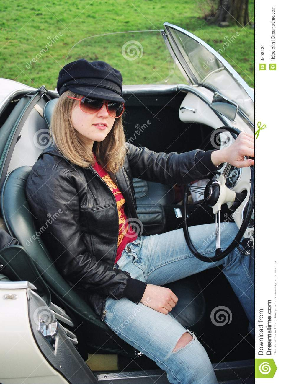 Hot blonde in a cabrio car stock photo. Image of posing