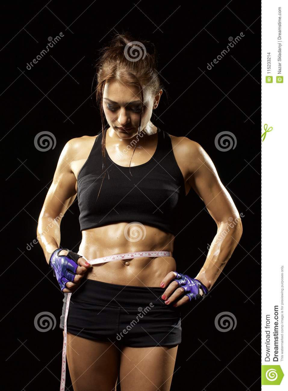 Fitness Woman In Sportswear With Ideal Fitness Body Checking