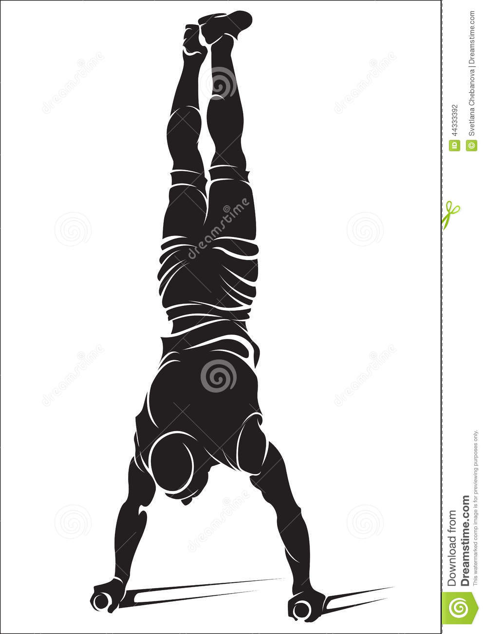 Sporty Man Doing Street Workout Exercise Handstand Stock