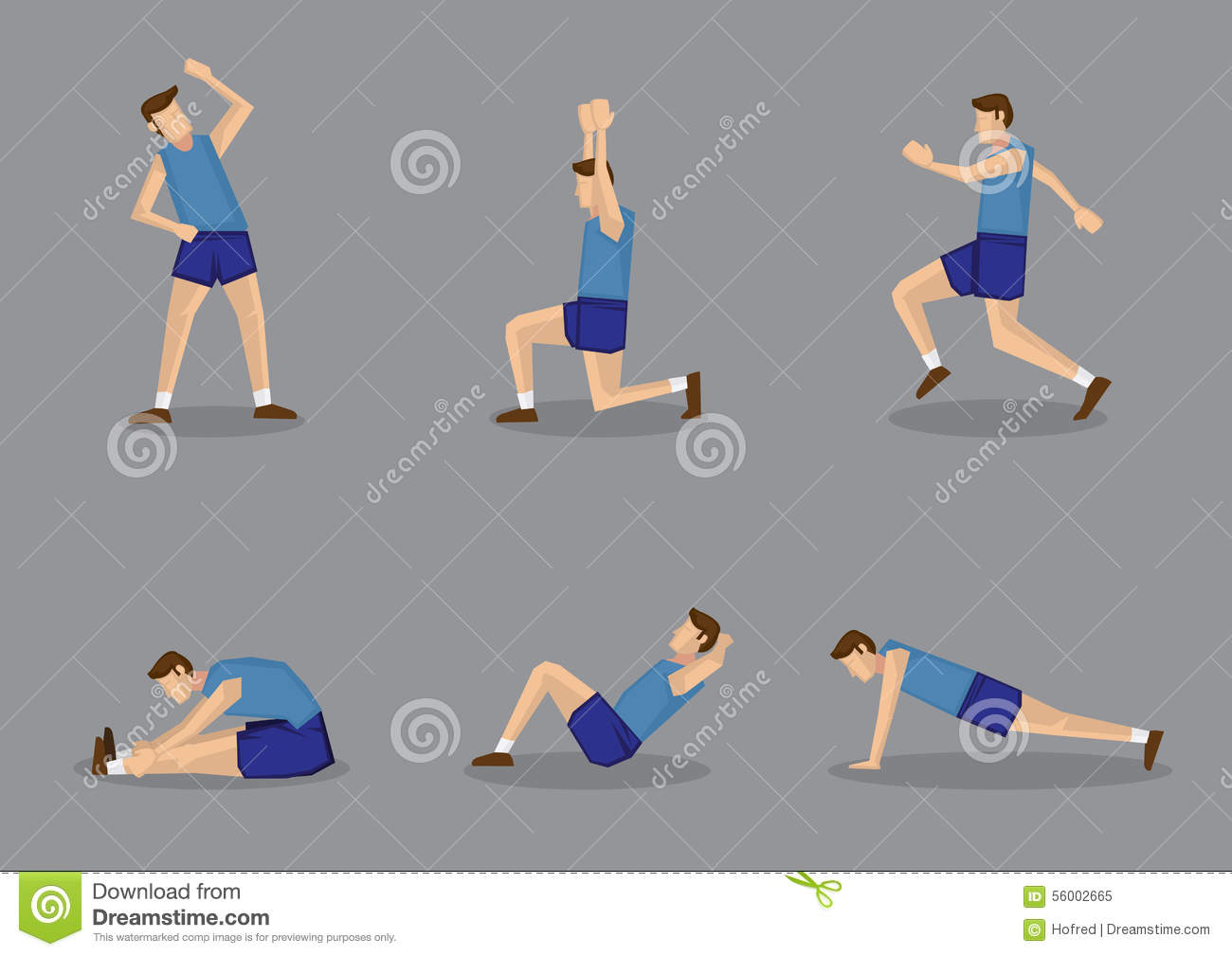 sporty man doing stretching warm up exercises blue singlet shorts warming vector illustration set isolated grey 56002665