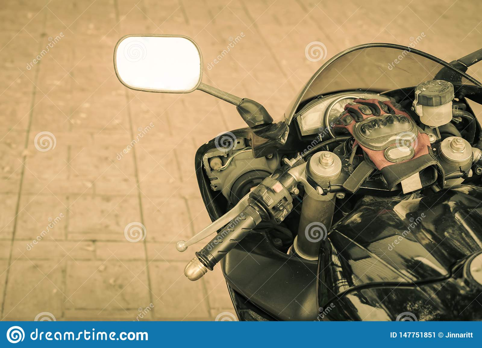 A sporty motorcycle parked