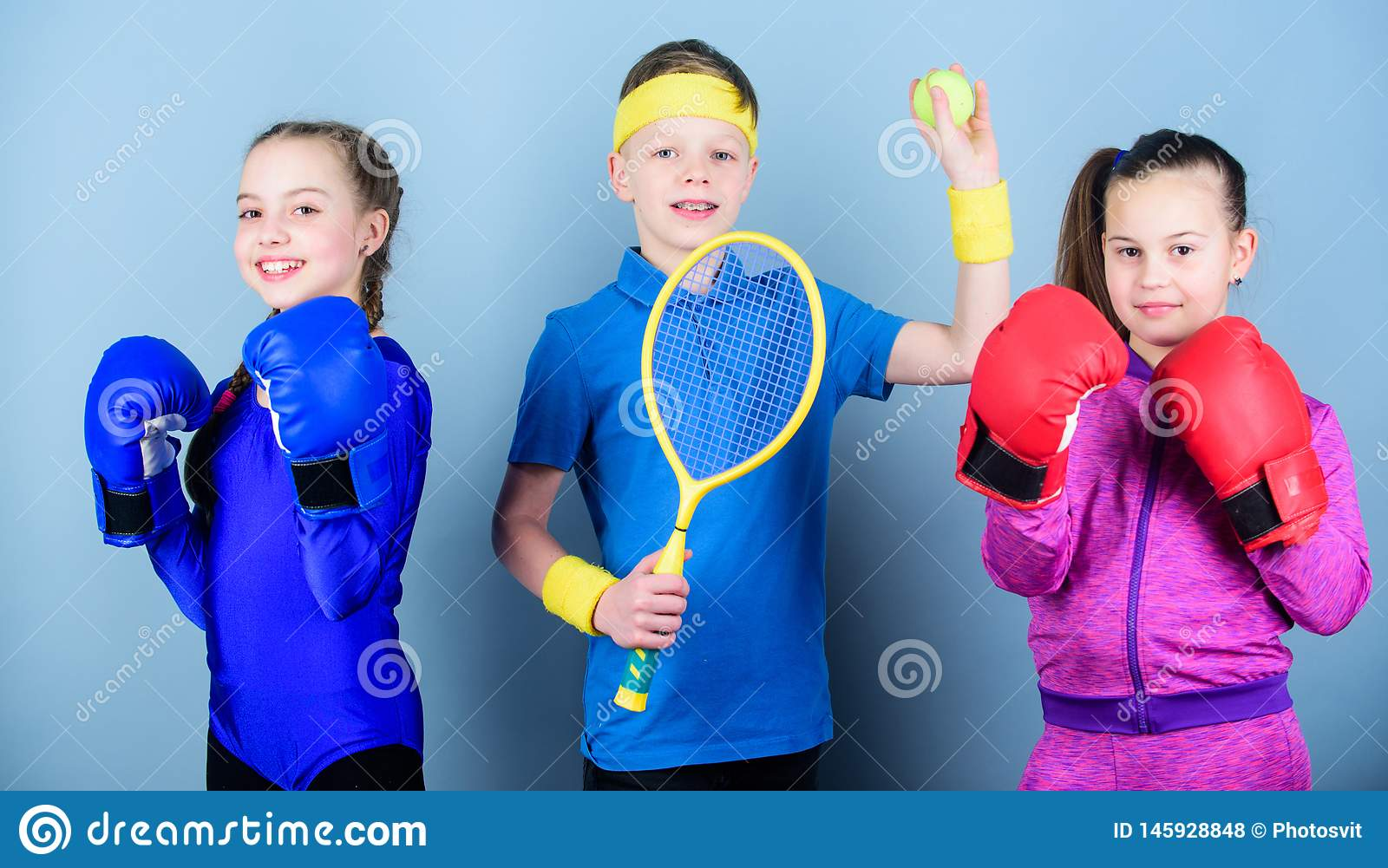 Sporty siblings. Ways to help kids find sport they enjoy. Friends ready for sport training. Child might excel completely