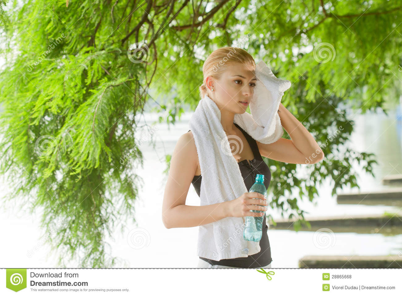 Sporty woman after fitness