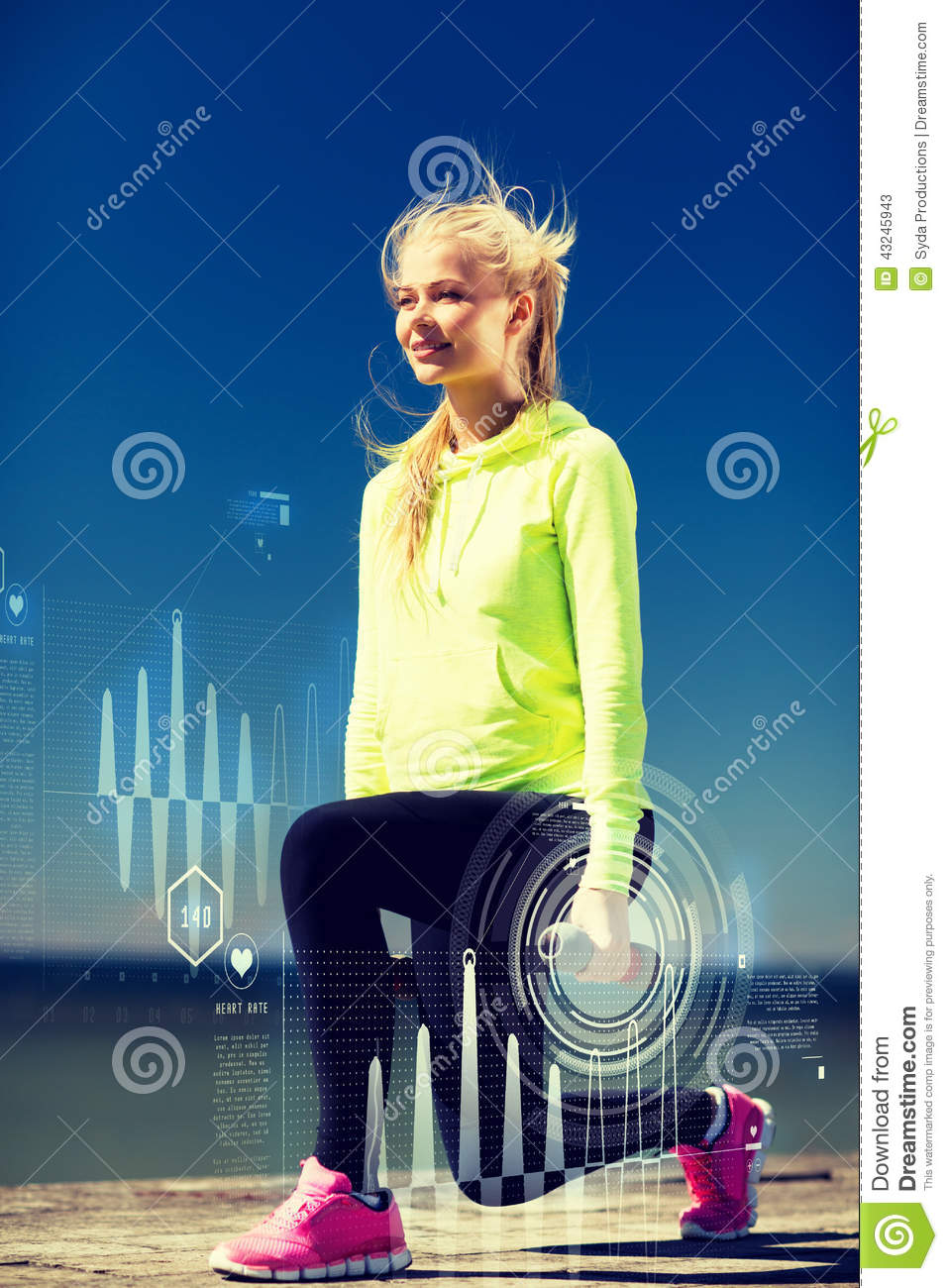 Sport and lifestyle young sporty woman with light dumbbells outdoors