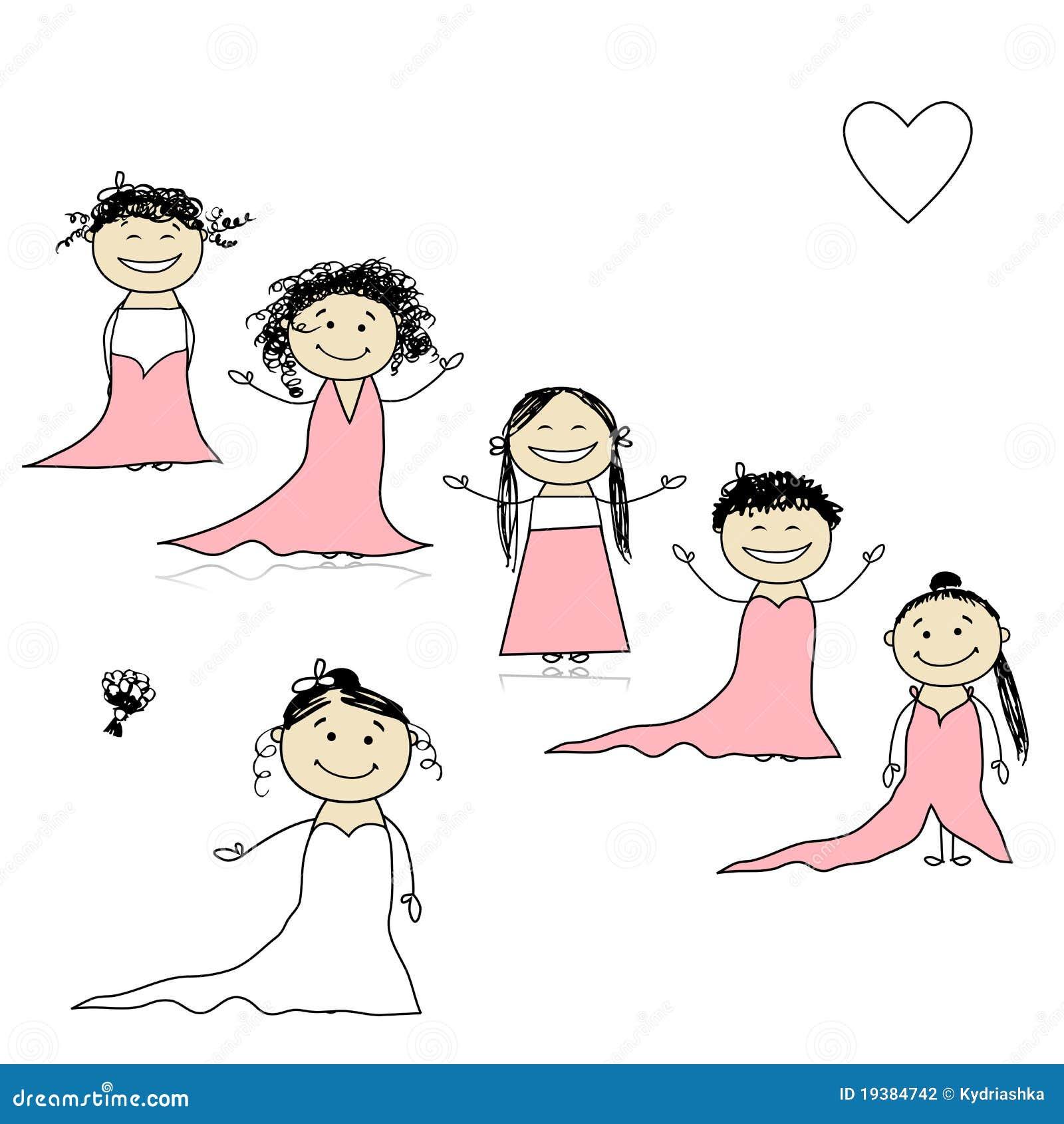 Sposa con le damigelle d 39 onore per il vostro disegno for Disegno sposi
