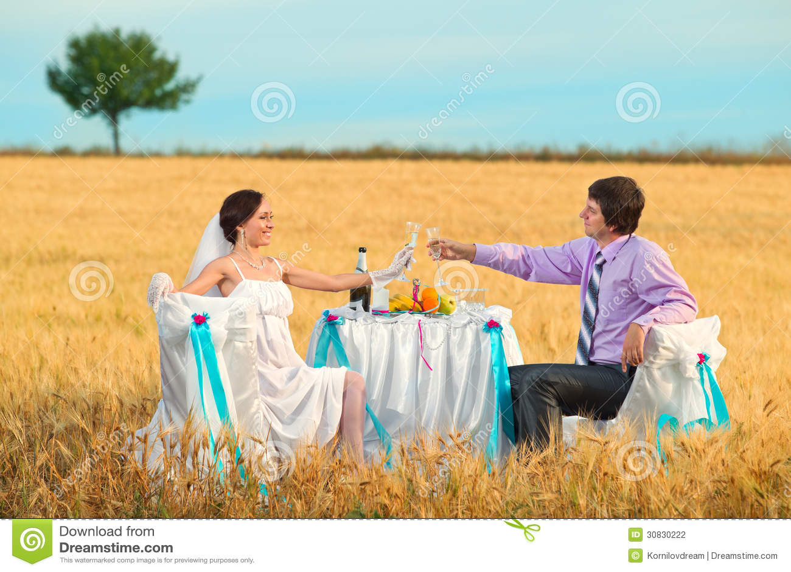 Sposa e sposo sul giacimento di grano