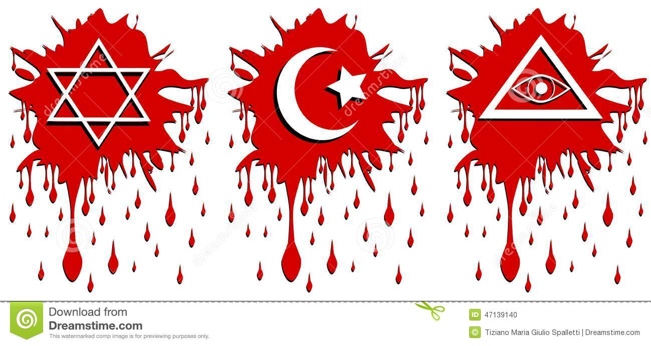 Spot Of Blood With Religious Symbols Isolated Stock Vector Illustration Of Black Star 47139140