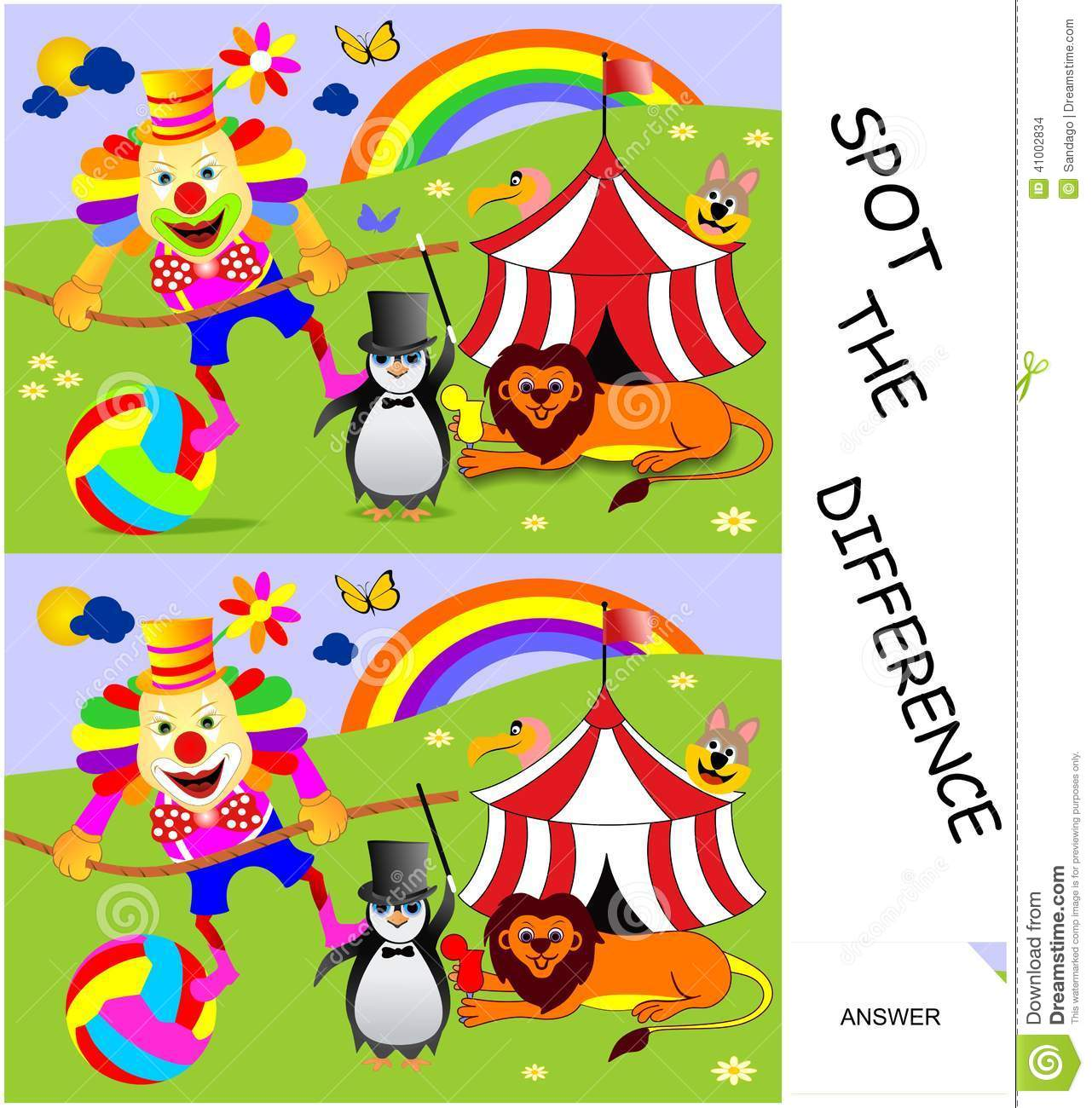 Spot The Difference Vector Image 41002834 – Spot the Difference Worksheets for Kindergarten