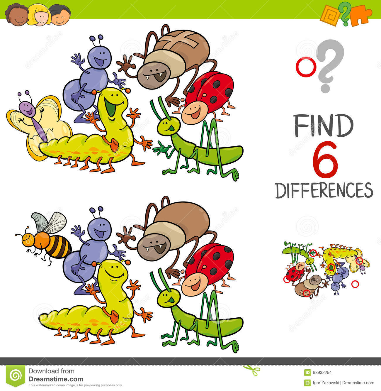 Spot The Differences With Cute Insects Stock Vector Illustration Of Group Kids 98932254