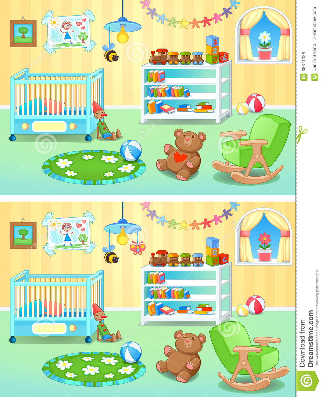 Spot The Differences Stock Vector Image 68371086