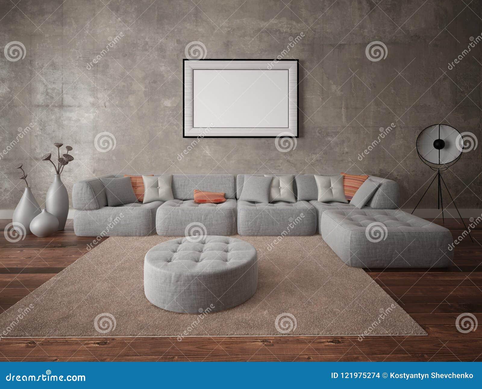 Spot omhoog de woonkamer in een moderne stijl met een grote