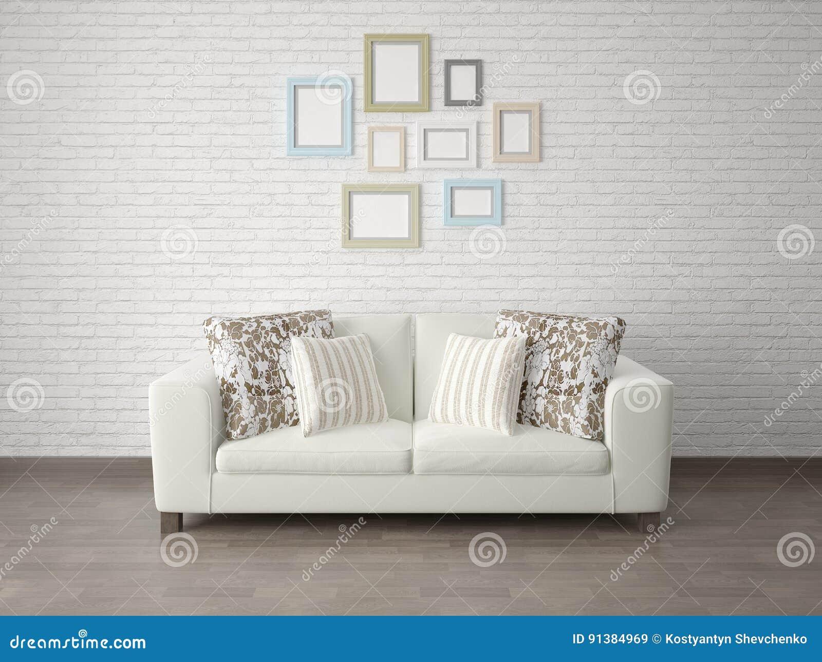 Koraalkleur De Woonkamer : Spot omhoog de woonkamer met een compacte bank stock illustratie