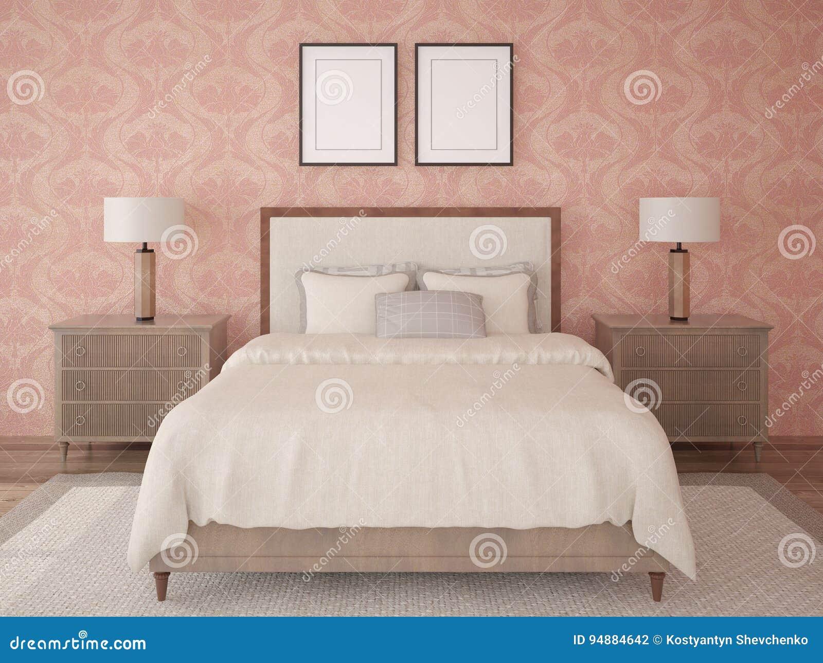 spot omhoog een klassieke slaapkamer met een bed in retro stijl, Deco ideeën