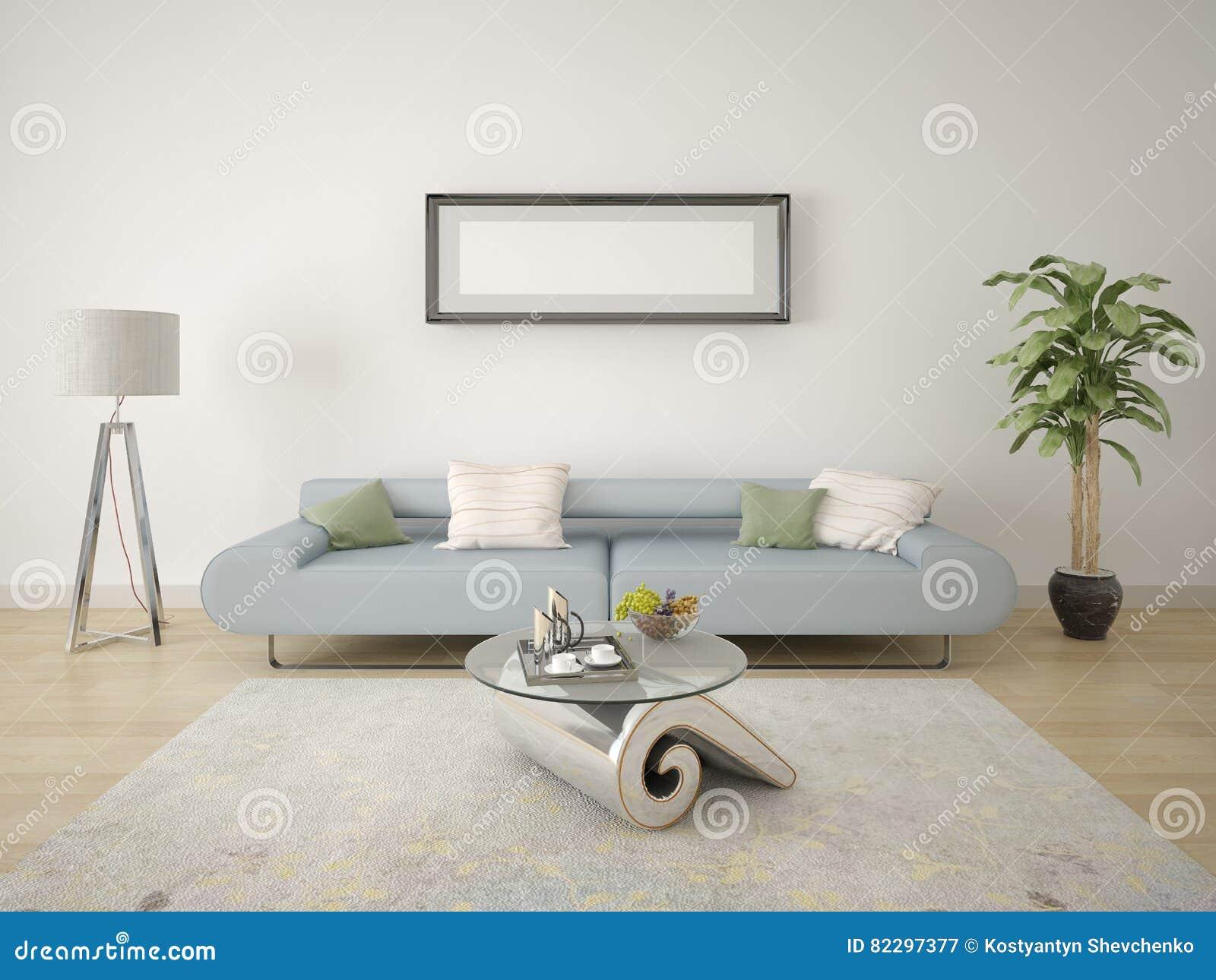 Koraalkleur De Woonkamer : Spot omhoog in een moderne woonkamer met een modieuze lamp en