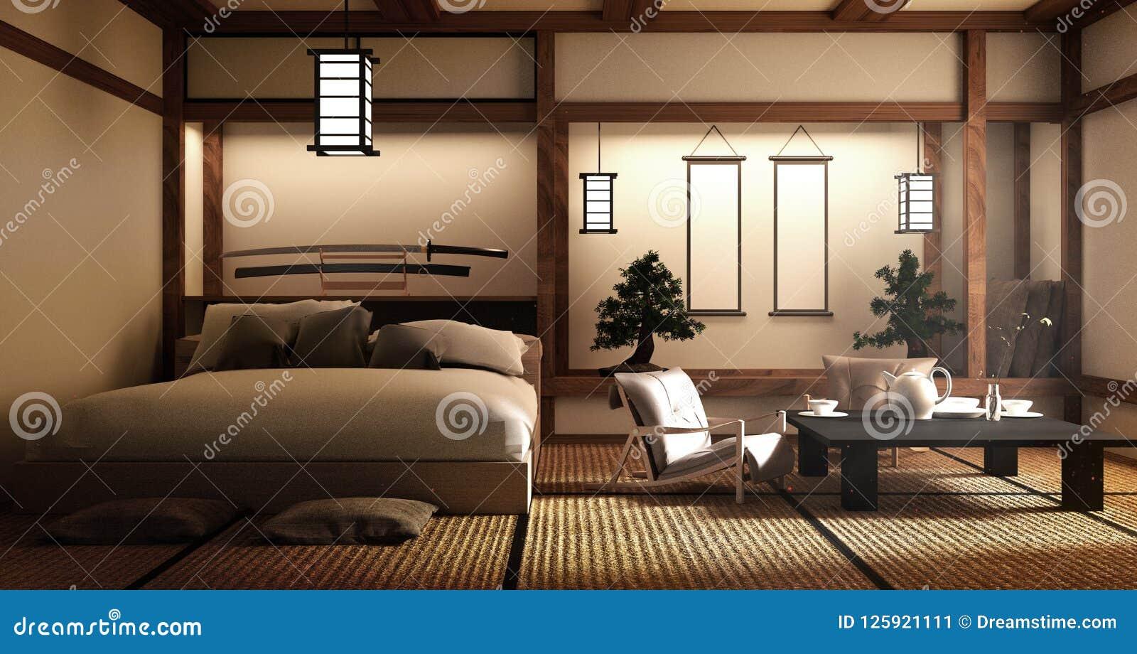 Spot omhoog moderne woonkamer japanse stijl het 3d teruggeven