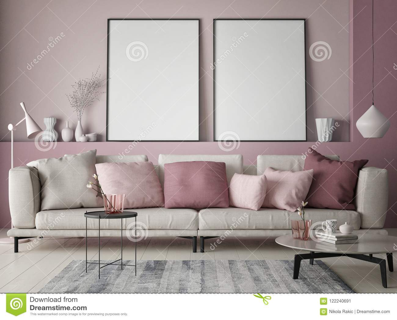 Spot Op Affiche Op Roze Muur In Hipsterwoonkamer, Gekleurde ...