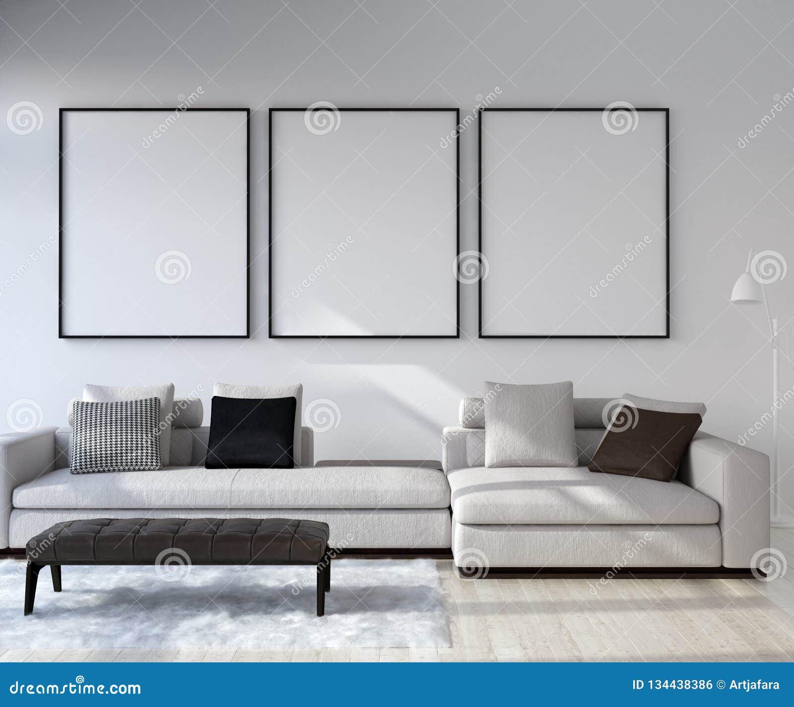 Spot op affichekader op huis binnenlandse achtergrond, Moderne stijlwoonkamer