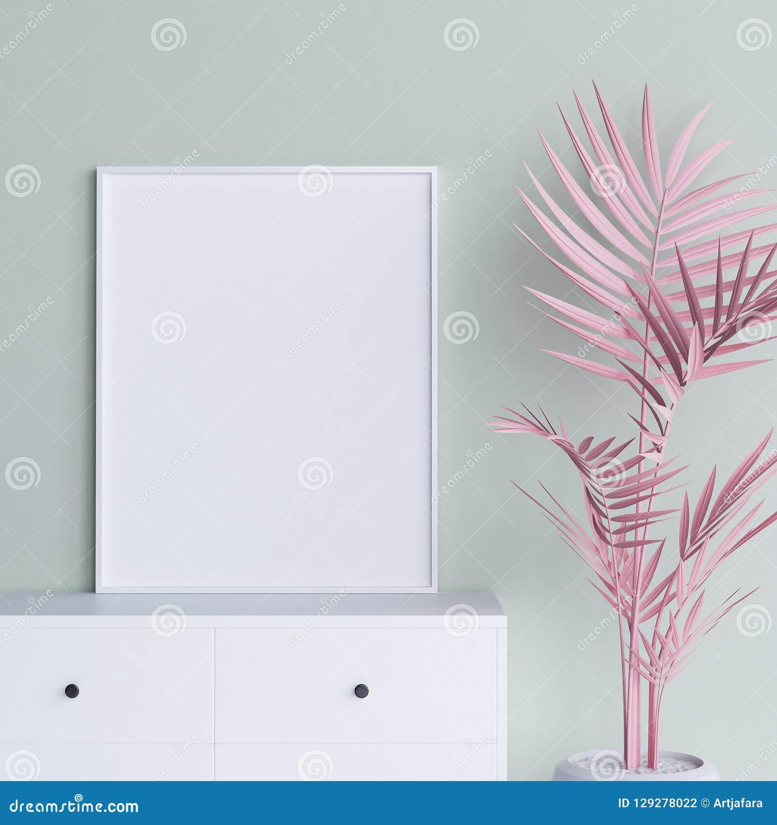 Spot op affichekader met pastelkleur roze installatie op binnenlandse achtergrond