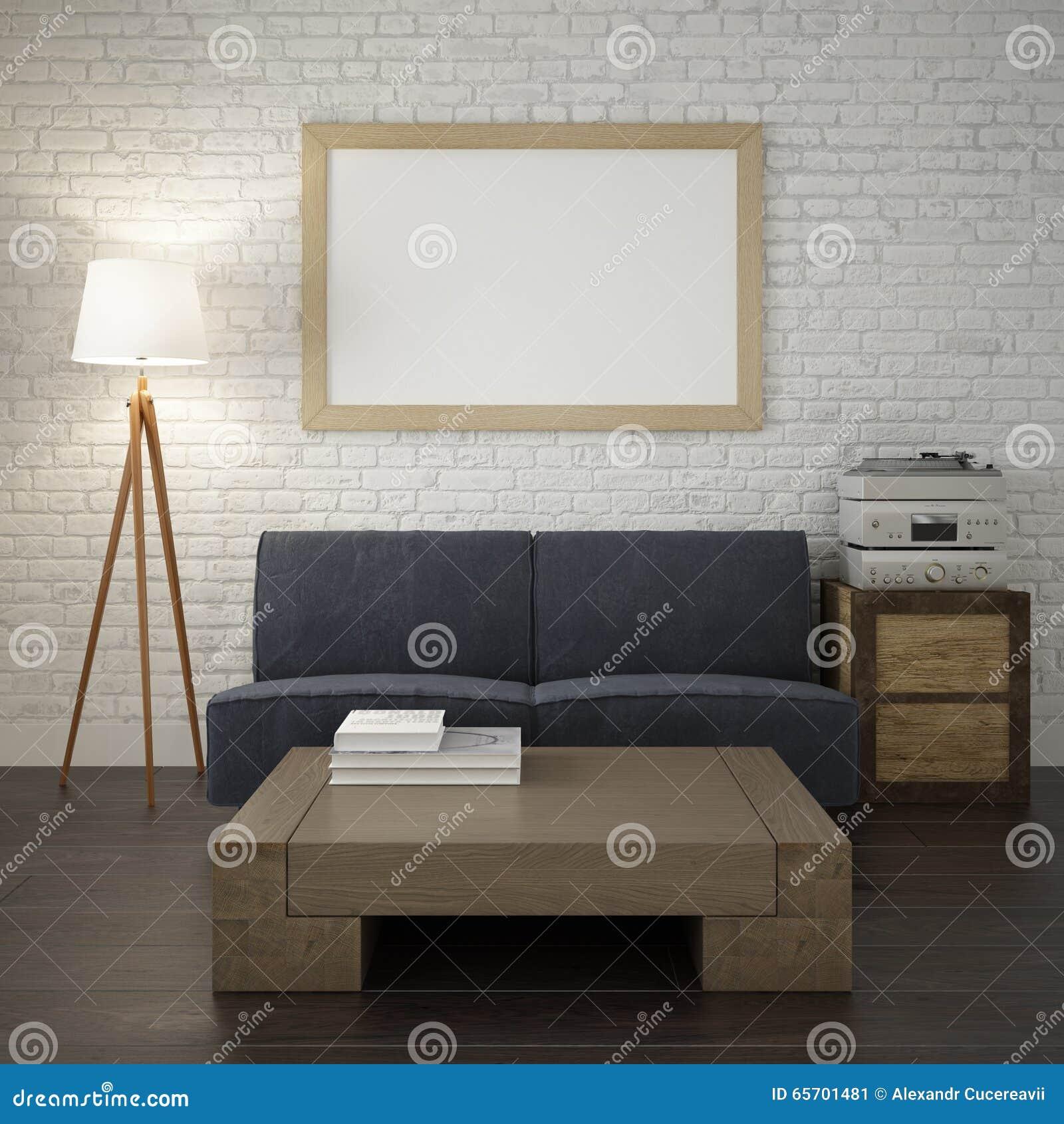 Spot op affichekader op de witte bakstenen muur van woonkamer ...
