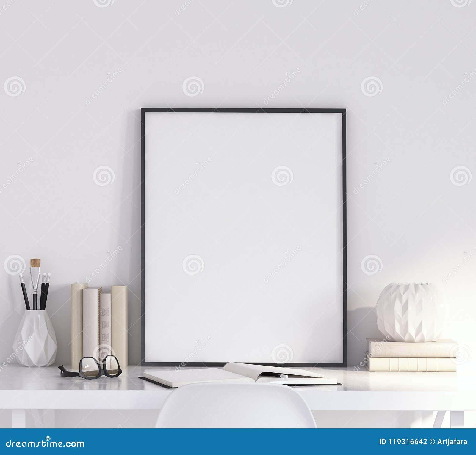 Spot op affichekader in woonkamer, werkplaats, Skandinavische stijl