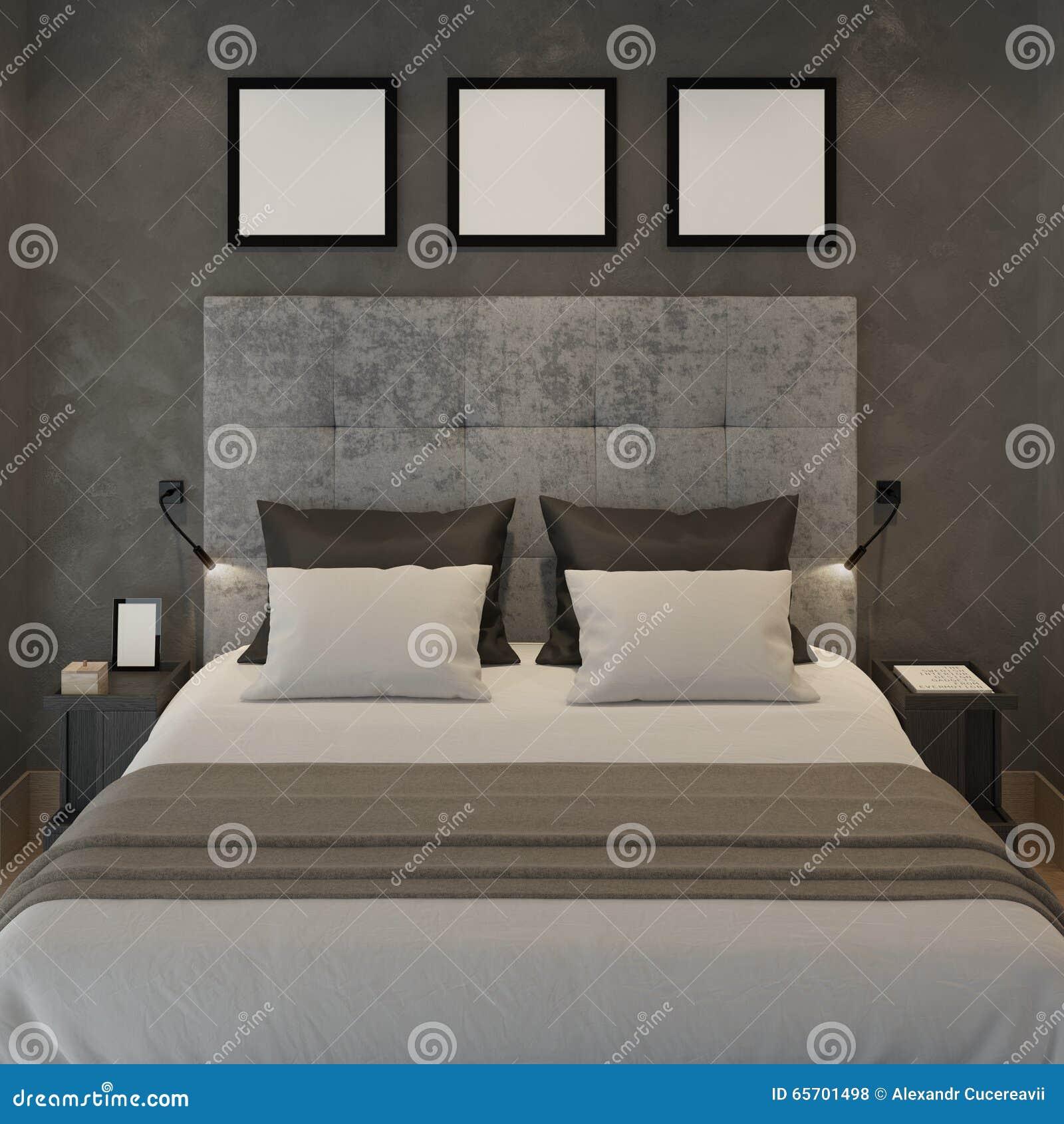Spot op affichekaders bij de grijze muur van slaapkamer stock ...