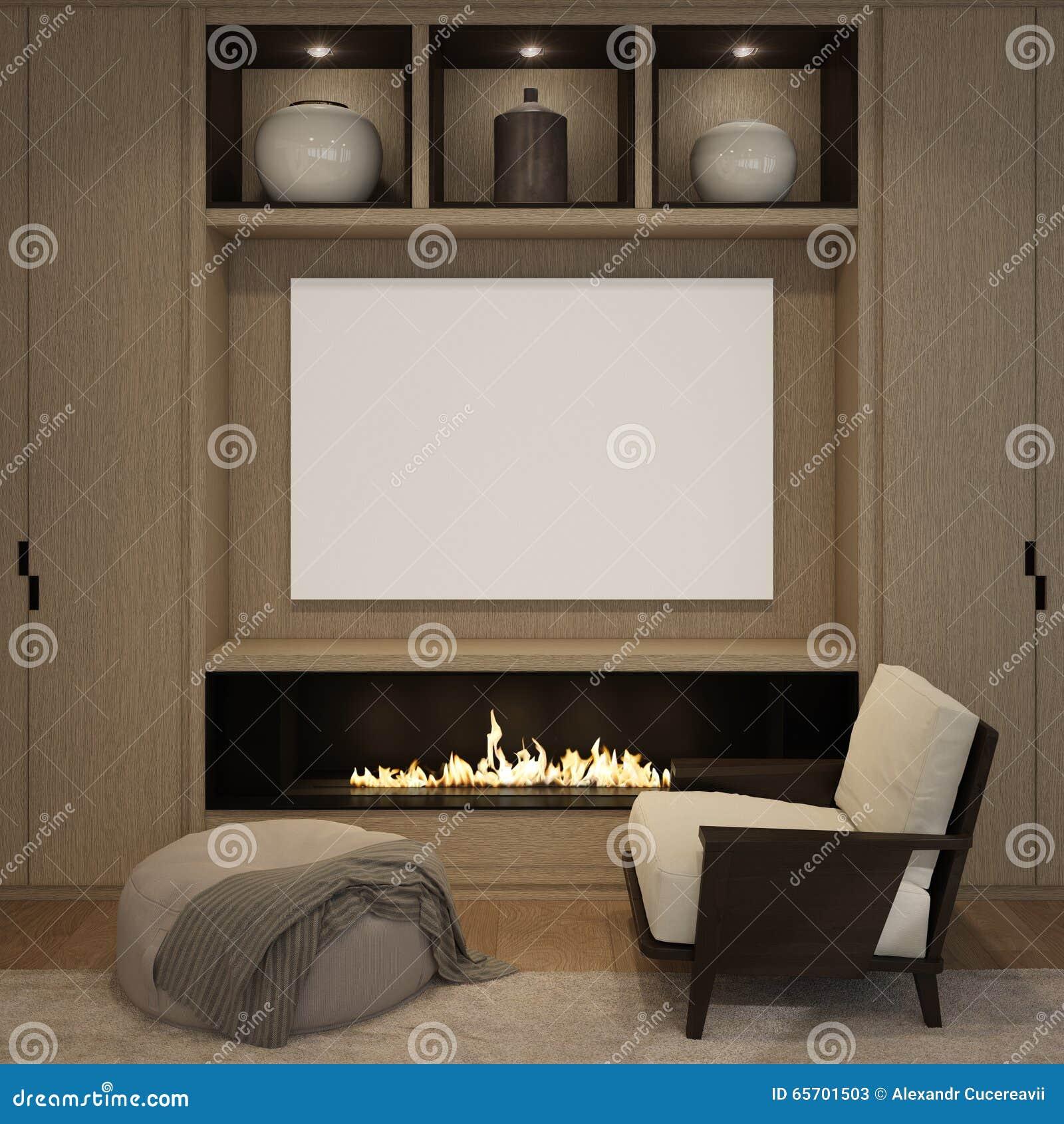 Spot op lege affiche bij de houten muuropen haard van woonkamer ...
