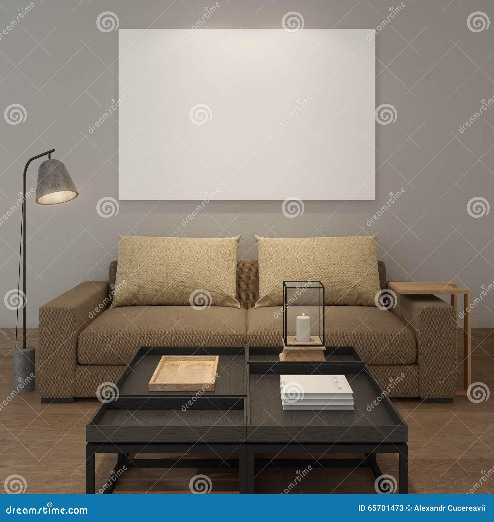 Grijze woonkamer met roze en witte details stock foto   afbeelding ...