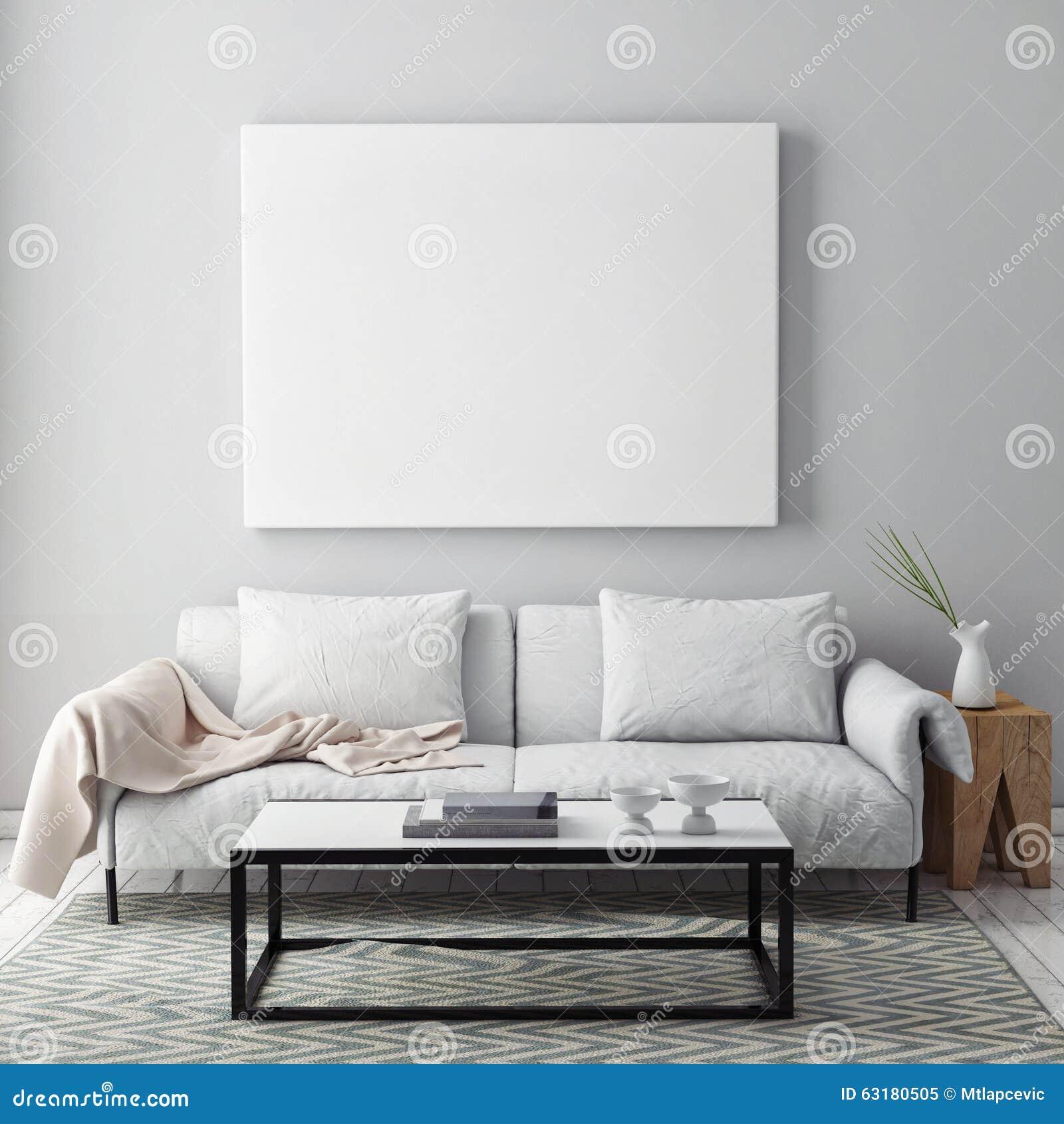 Spot op lege affiche op de muur van woonkamer