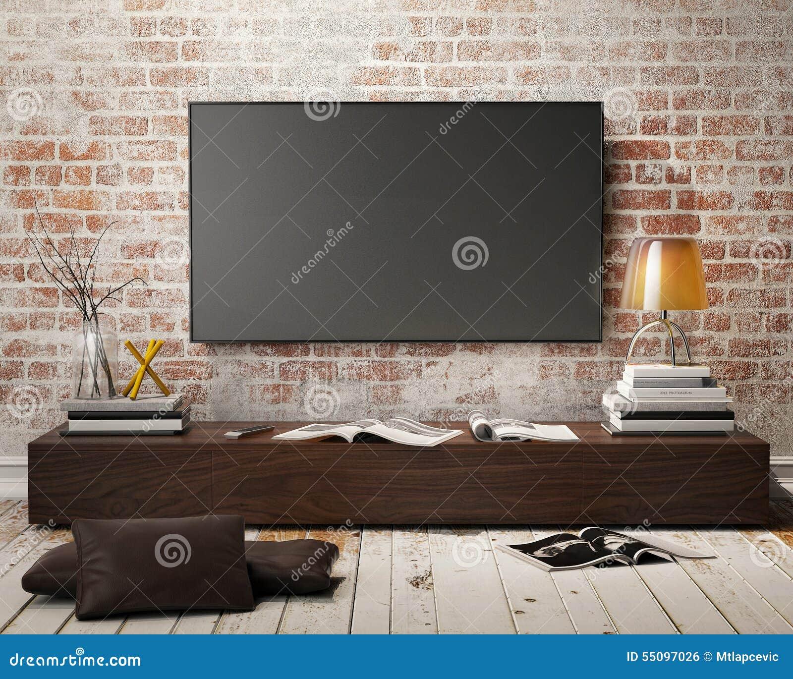 Het vlakke scherm lcd op een muur, spot van tv van plasma de ...