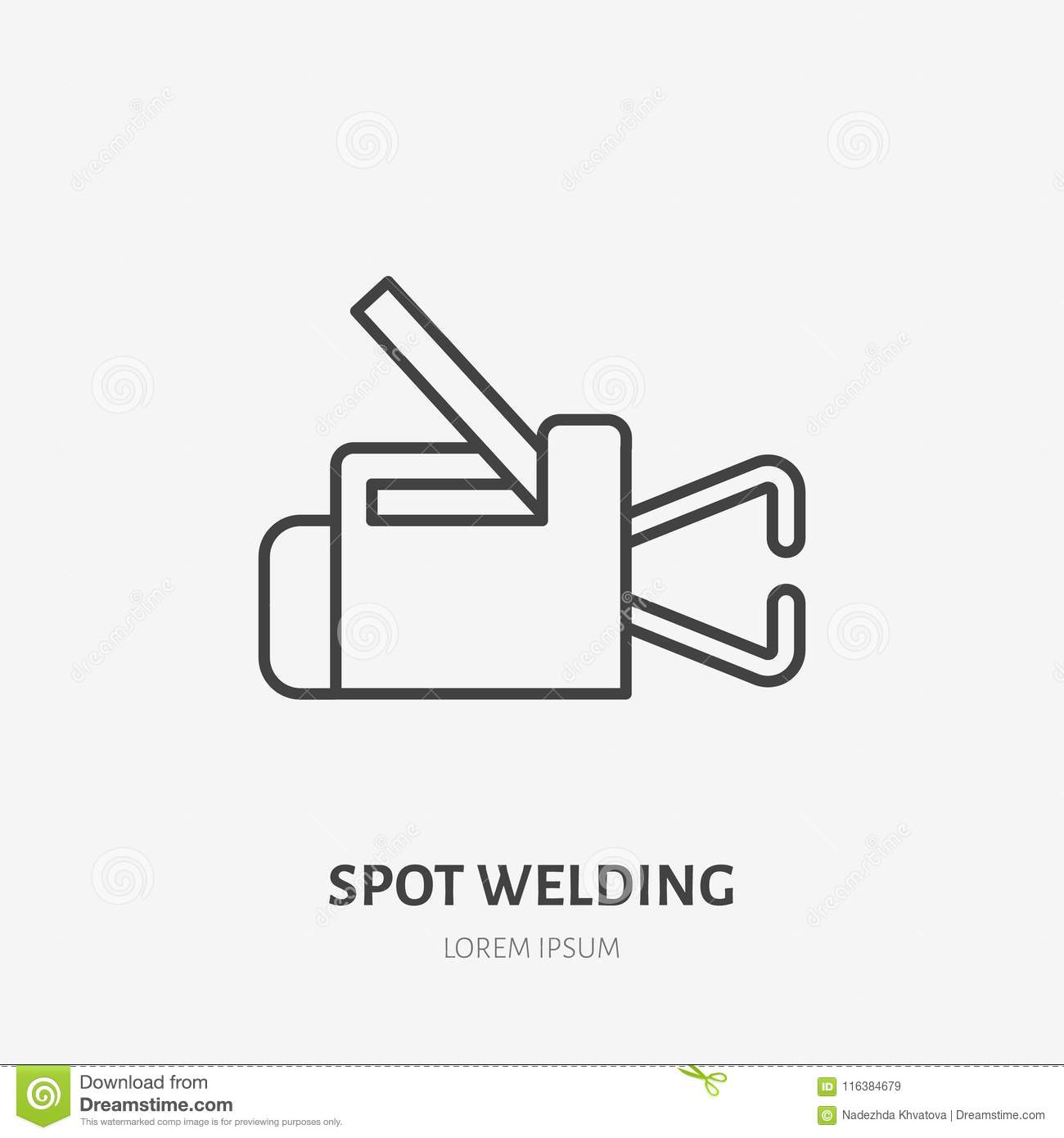 Welder Equipment Diagram Detailed Schematics For Welding Machine Spot Flat Line Icon Metal Works Sign Thin Linear Tool Cart