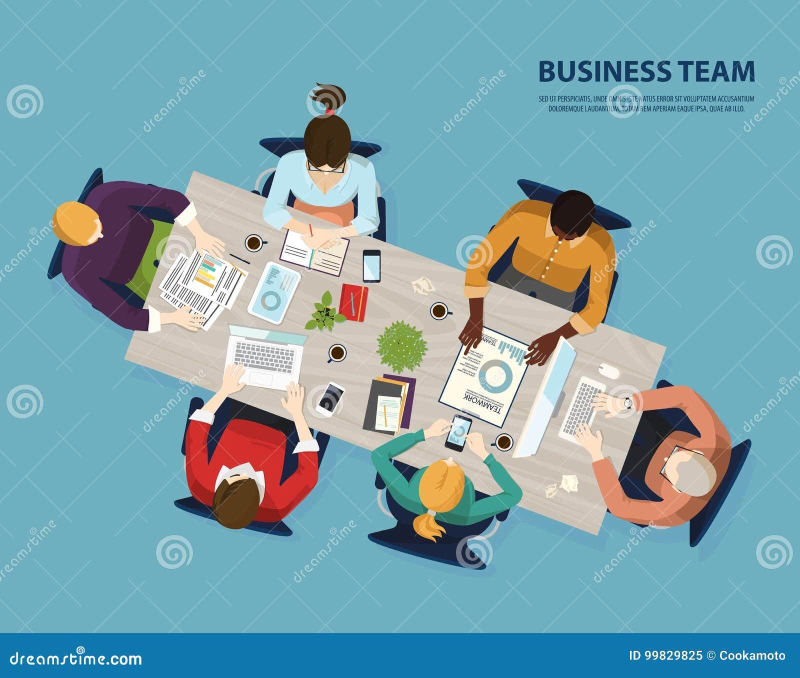 Spotkanie biznes drużyna, ludzie spotyka odgórnego widok