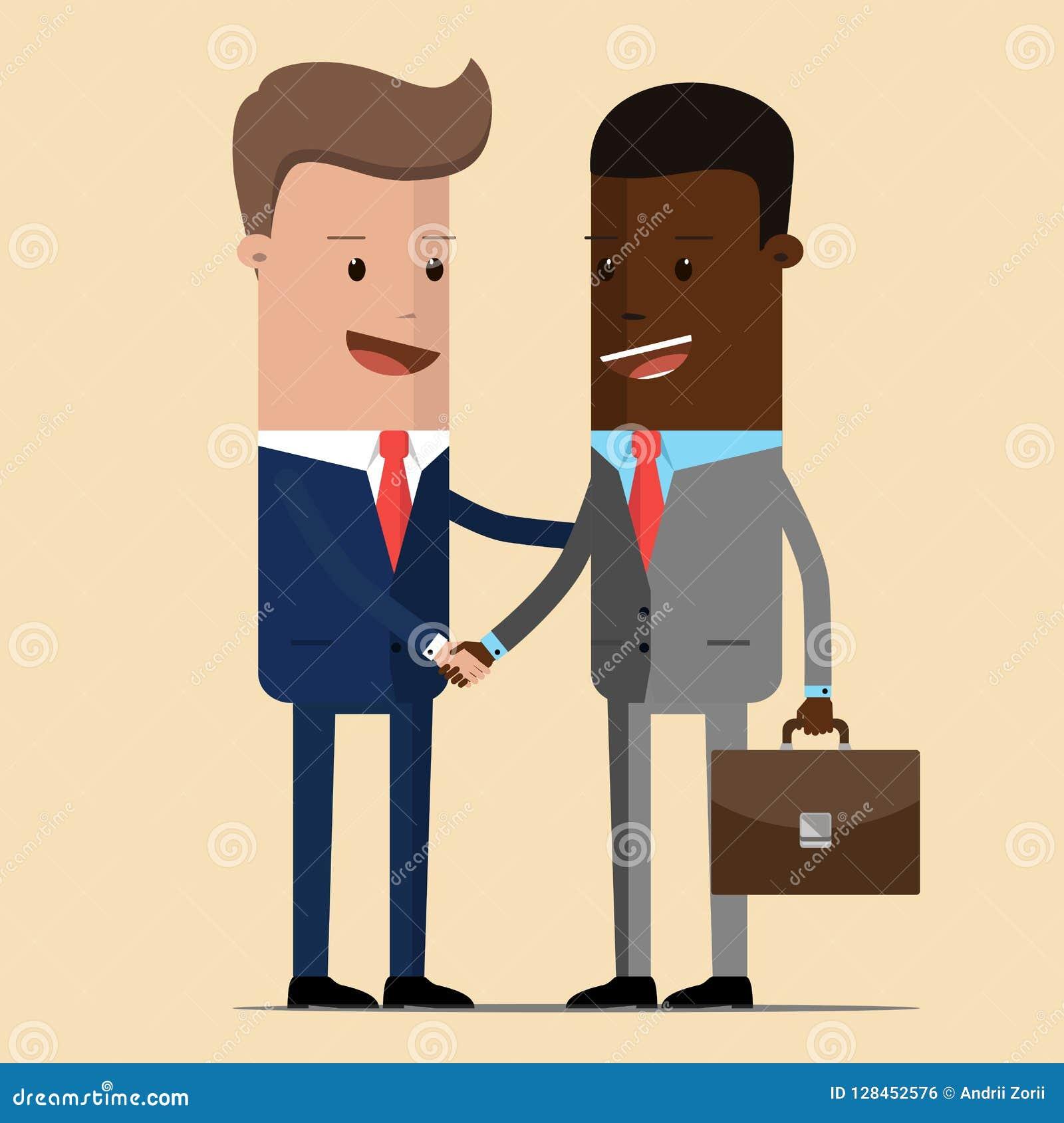 Spotkanie dwa biznesmena i biznesowego uścisk dłoni spotkanie politycy, dyplomaci, partnery lub przyjaciela wita dowcip dwa,
