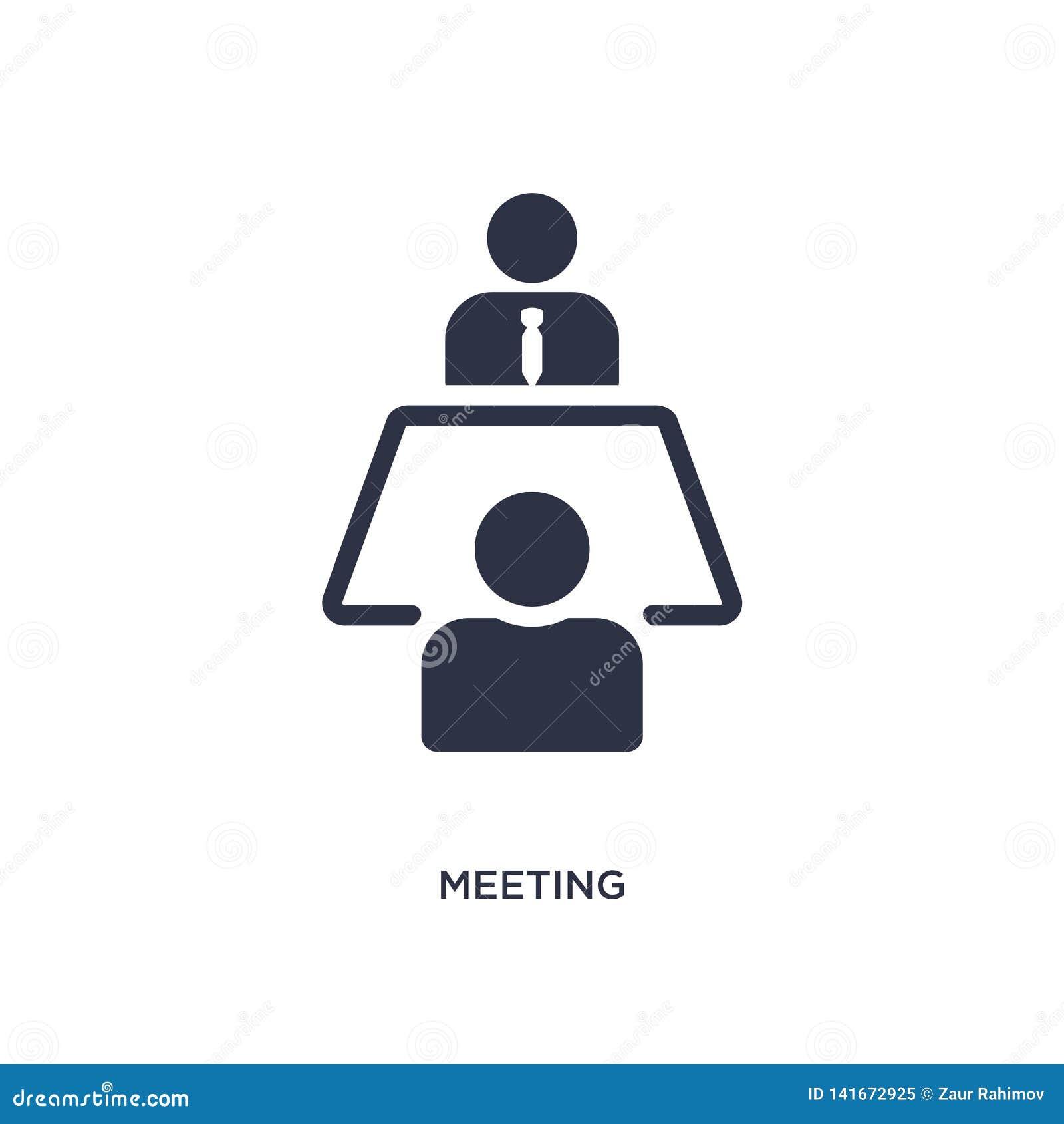 Spotkanie ikona na białym tle Prosta element ilustracja od strategii pojęcia