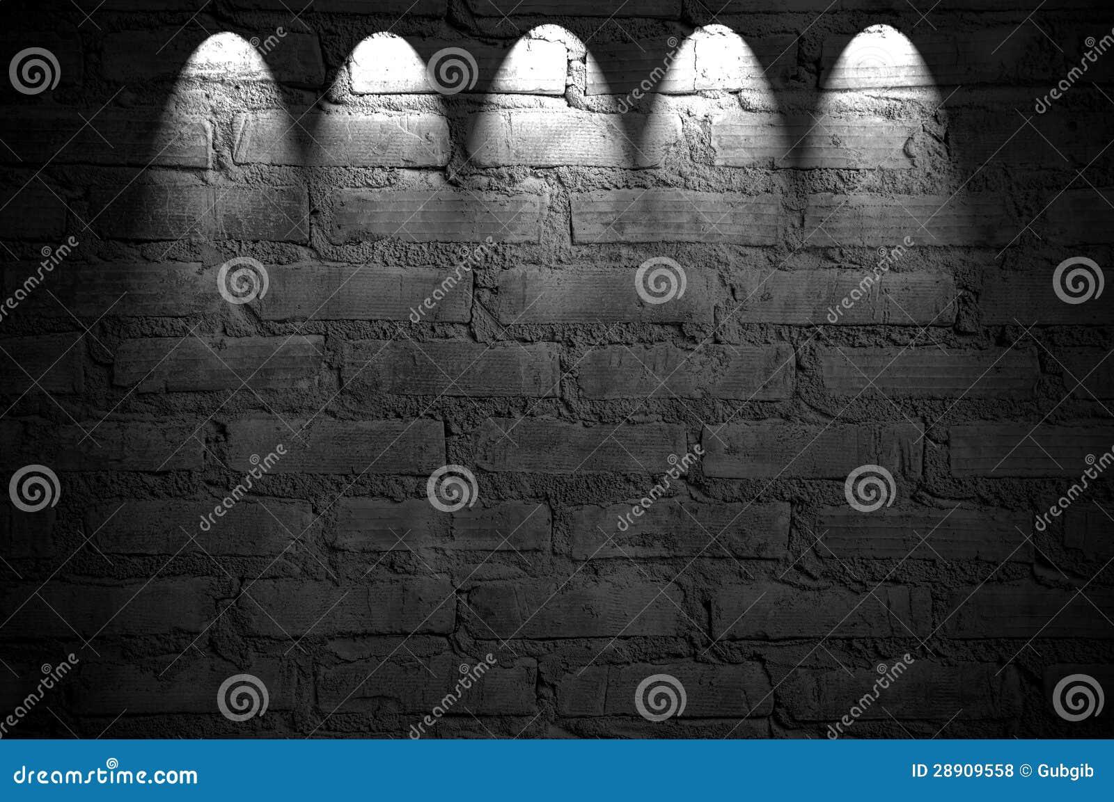 Spotlight On The Brick Wall Stock Photo 28909558