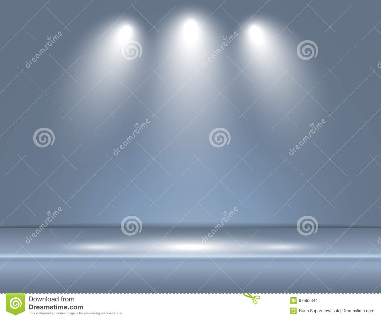 Spotlight Gray Blue Light Rays Room Studio Background