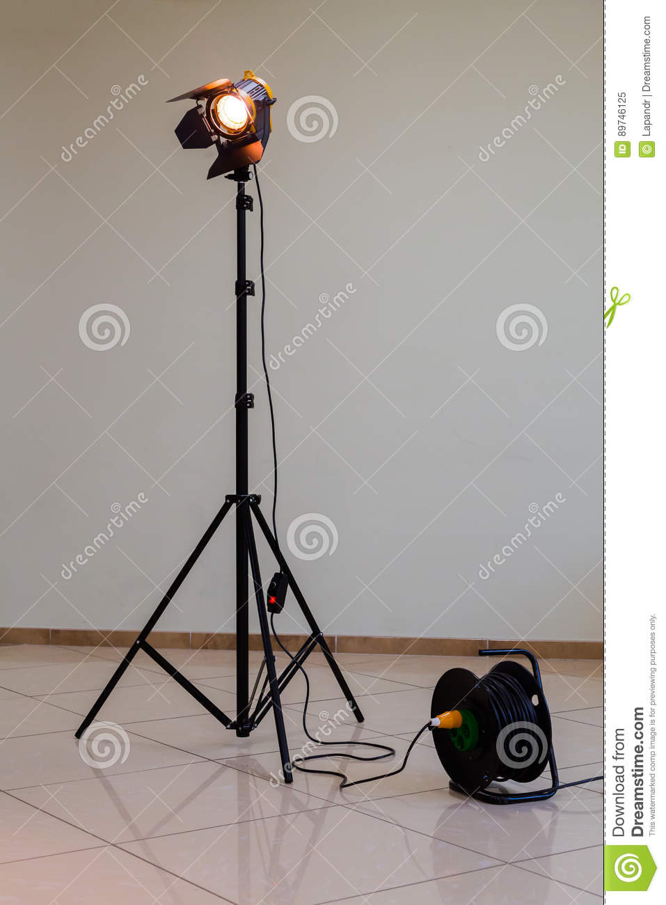 Download Spotlight With Halogen Bulb And Fresnel Lens. Lighting Equipment For Studio Photography Or Videography & Spotlight With Halogen Bulb And Fresnel Lens. Lighting Equipment For ...