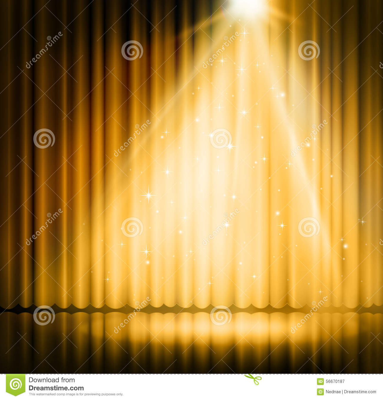 Stage curtains spotlight - Spotlight On Stage Curtain Gold Background Stock Illustration