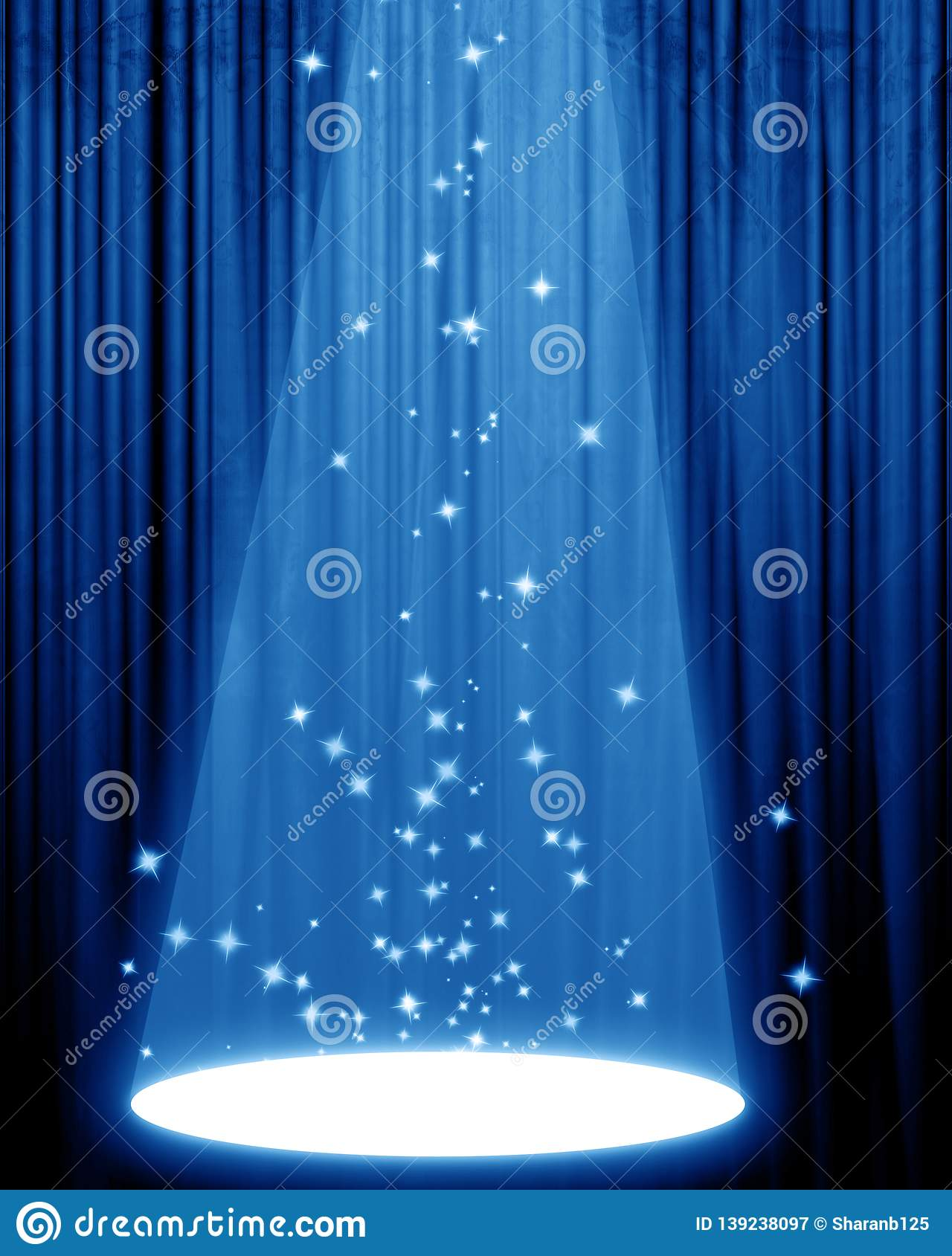 Sparkling white glitters with abstract blue background