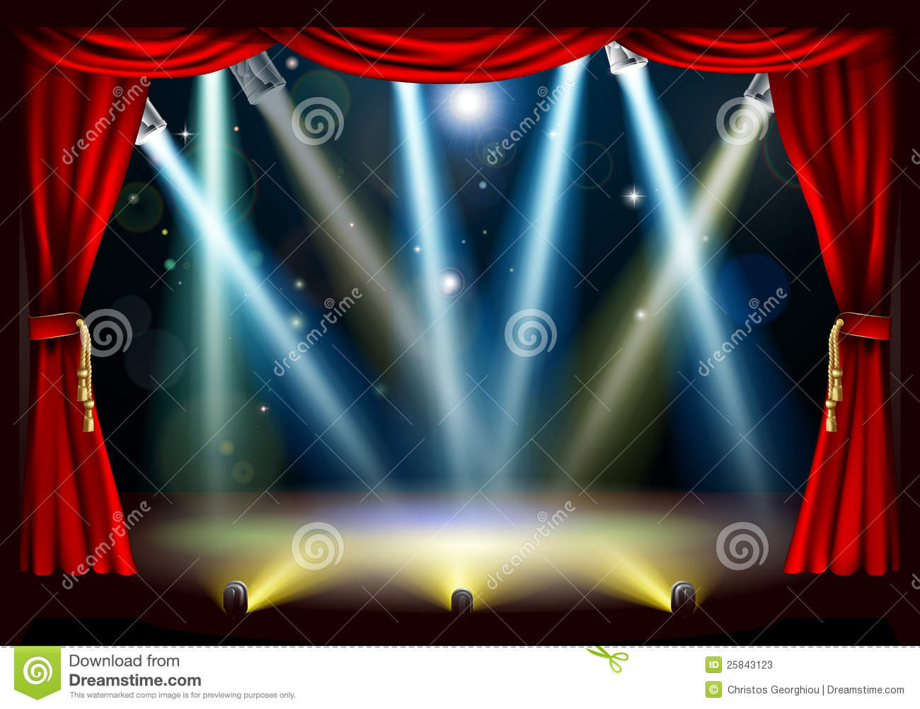 Red stage curtain with lights - Spotlight Theatre Stage Stock Photos Image 25843123