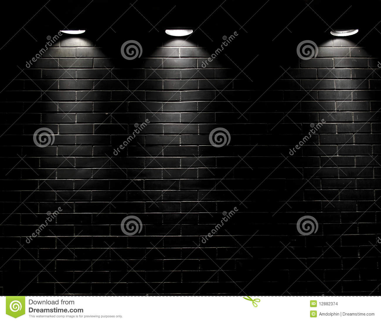 Lonely Black And White Spotlights On A Black ...