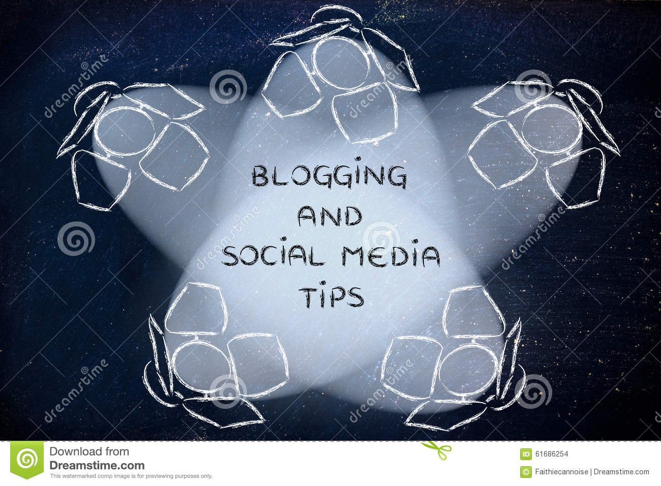 Spotlights with text Blogging and Social Media Tips