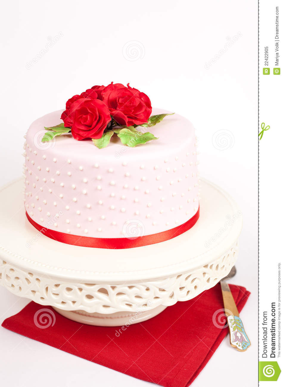 Spotted Cake With Red Roses Stock Image - Image of wedding, flowers ...