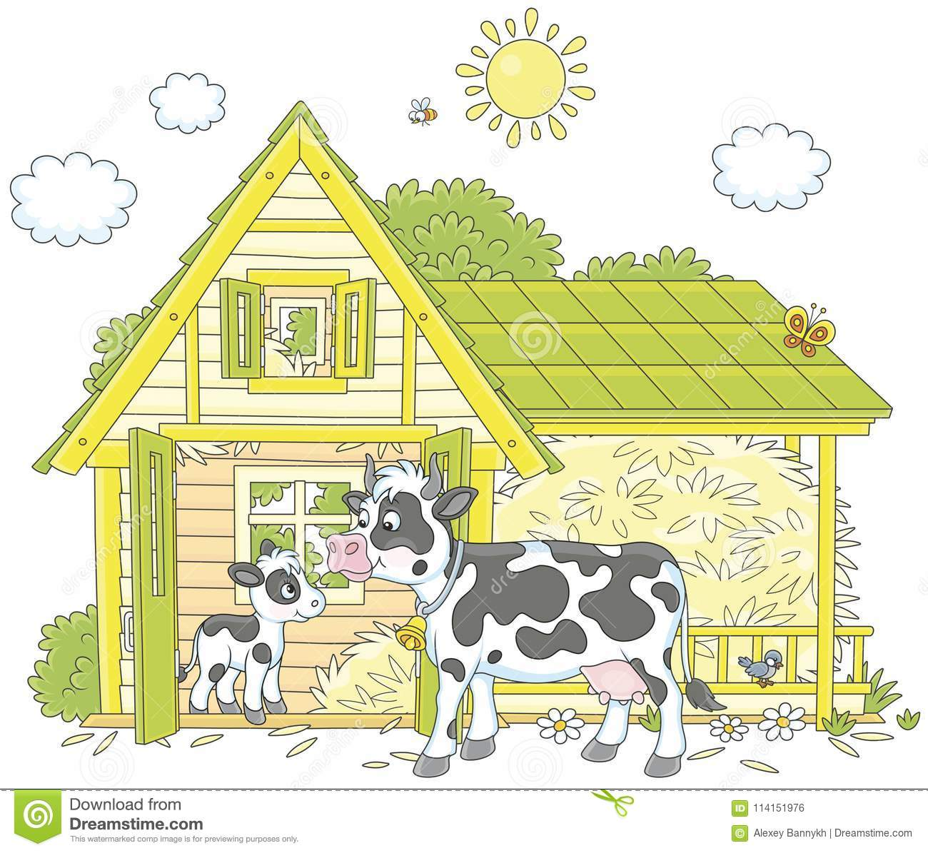 Download Cow And Calf Stock Vector Illustration Of Cowhouse