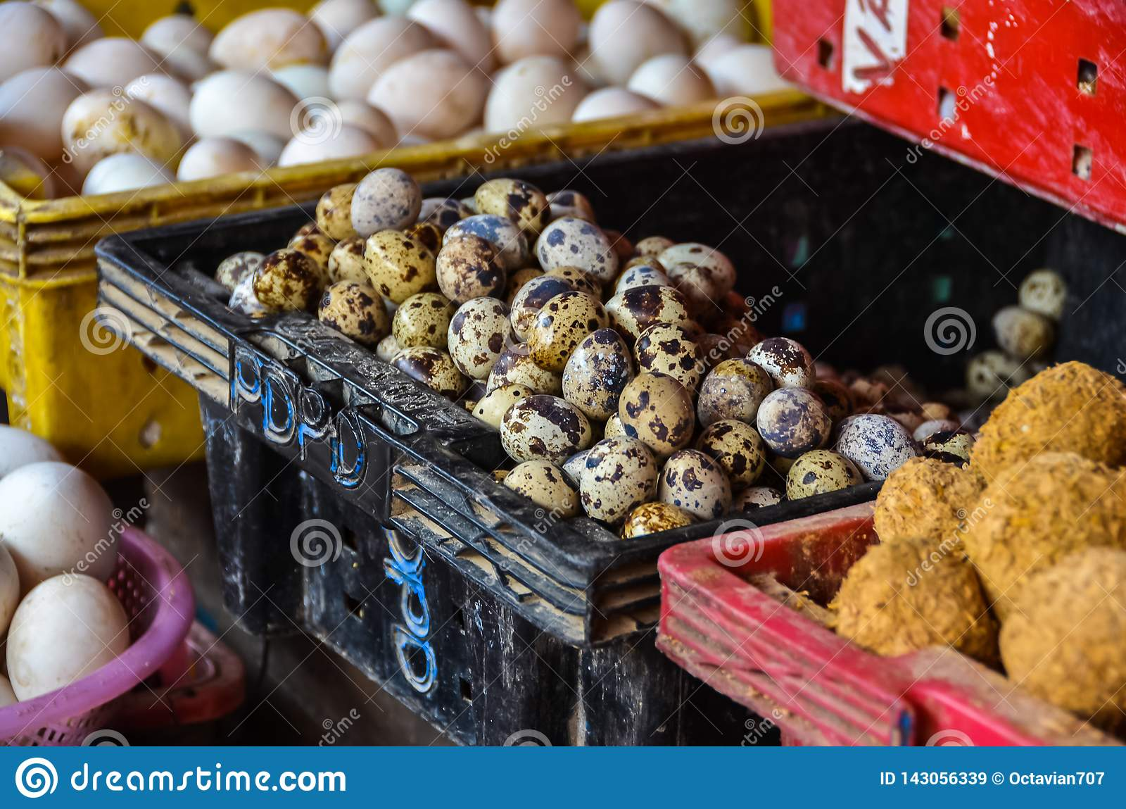 Spotted eggs for sale in market in Vietnam