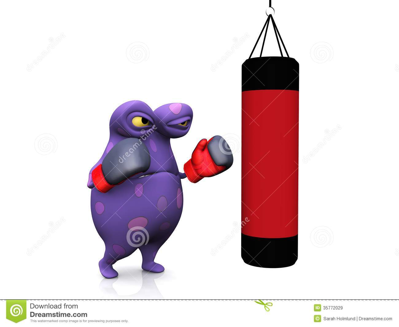 A Spotted Monster Punching A Heavy Bag Royalty Free Stock